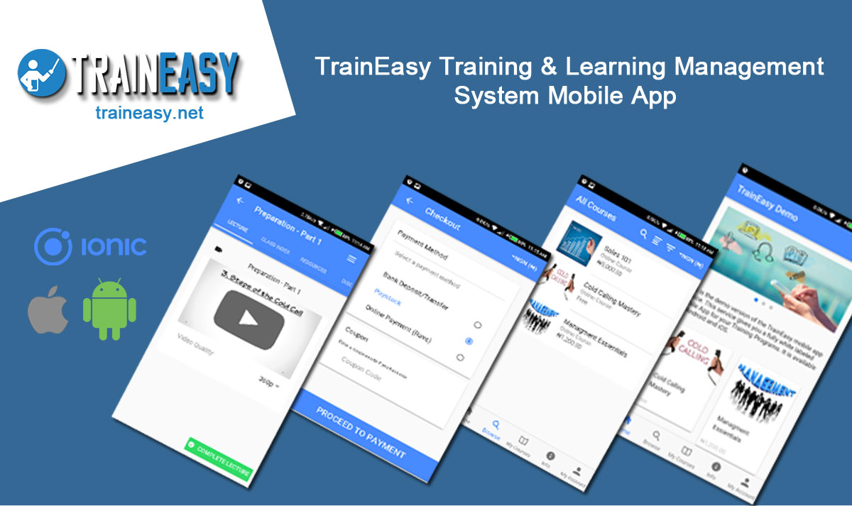 Learning Management System Ionic 3 App - TrainEasy - 1